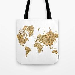 world map white gold Tote Bag