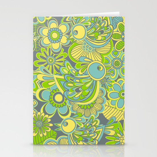 Welcome birds to...green Stationery Cards