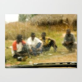 Indistinct View of Congolese Men in Family Village Canvas Print