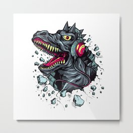 Dino with Headphones Grey Ebony Clay Metal Print