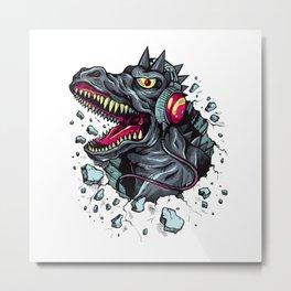 Dino with Headphones Grey Ebony Clay Metal Print