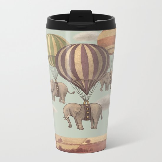 Flight of the Elephants - mint option Metal Travel Mug