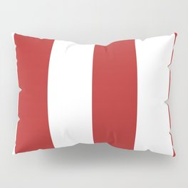 Wide Vertical Stripes - White and Firebrick Red Pillow Sham