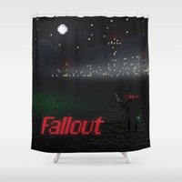 fallout Shower Curtains featuring Fallout Pixels by Kazisvet