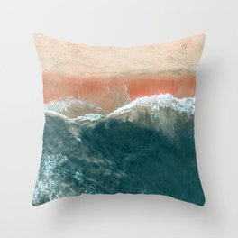 Tropical Drone Beach Photography Throw Pillow