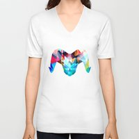 ram V-neck T-shirts featuring Ram by haroulita