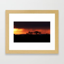 Breaking Rain at Sunset Framed Art Print