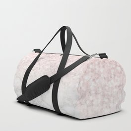 Pink Rose Gold Glitter and Marble Duffle Bag