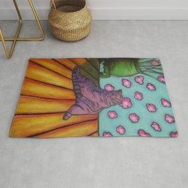 Purple Cat on Floor Rug
