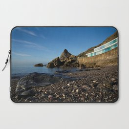 Meadfoot Beach Huts And Imposing Cliffs Laptop Sleeve