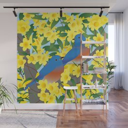 Bluebirds and Yellow Spring Flowers Wall Mural