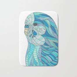 'Stained Glass Budgie' Ombre Blue Line work Geometric Illustrated Budgie Bath Mat