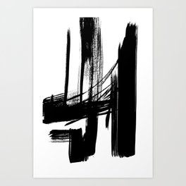 Black Abstract Brush Strokes nr 7 Art Print
