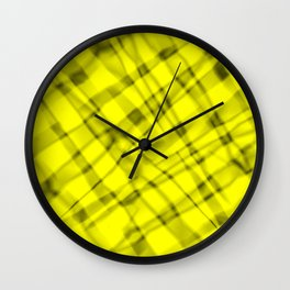 Bright metal mesh with yellow intersecting diagonal lines and stripes. Wall Clock