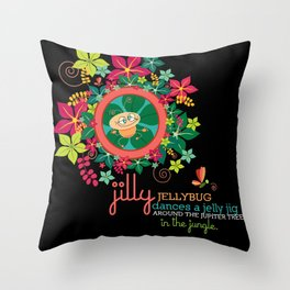 JILLY jellybug® dances a jelly jig around the jupiter trees in the jungle. Throw Pillow