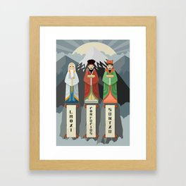 three great asian thinkers in mountains peak Framed Art Print