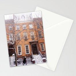 Snowy NYC Brownstone Street Stationery Cards