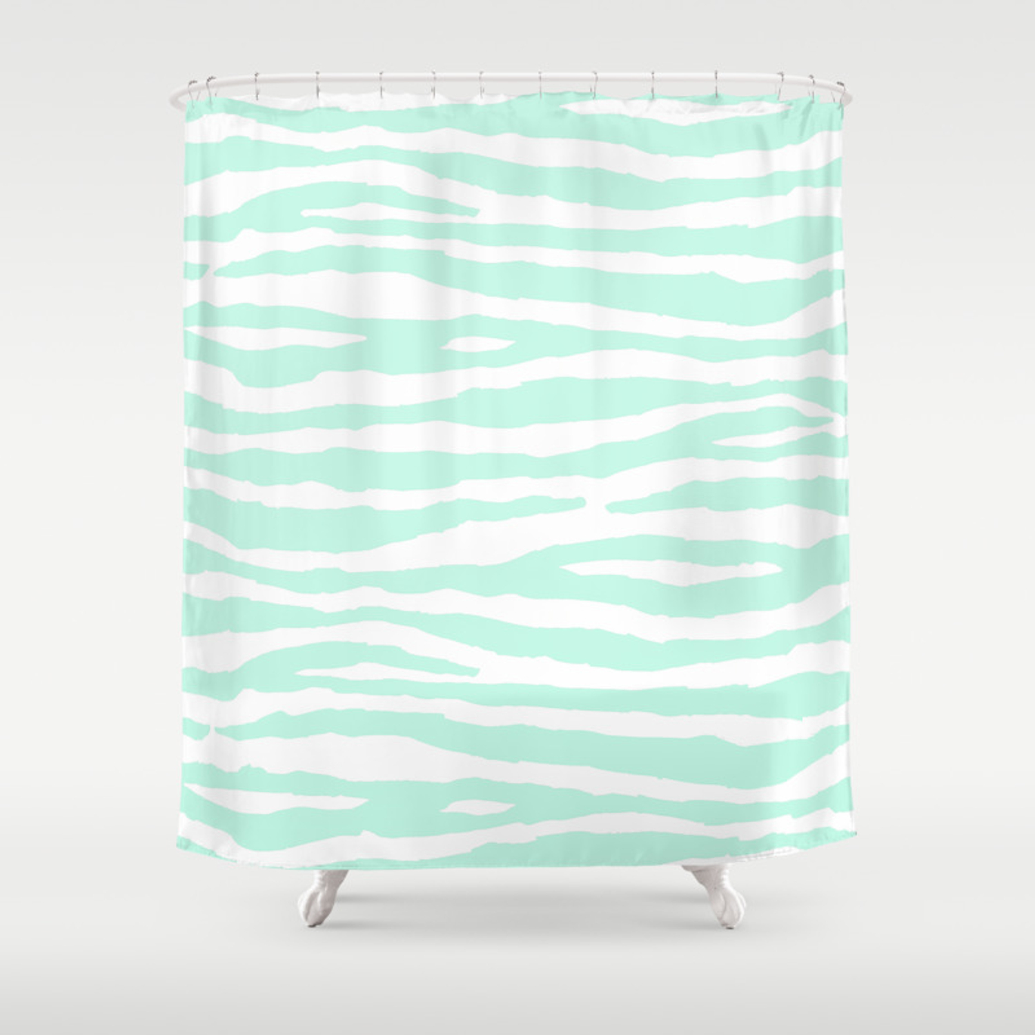 Mint Green White Animal Print Shower Curtain By Nlmiller07art Society6