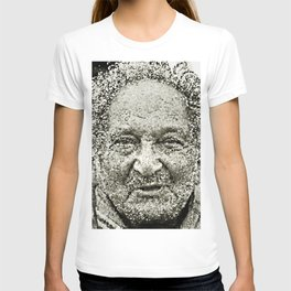 Portrait of a old man in the street T-shirt