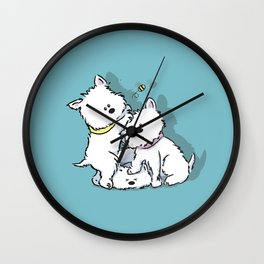 Westie's Chasing a Bee Wall Clock