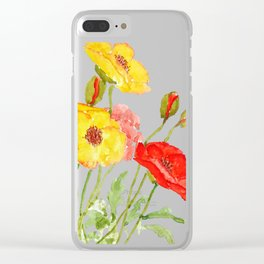 red and yellow  poppies Clear iPhone Case