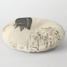 Koson Ohara - Crow on flowering Cherry Tree at Full Moon - Japanese Vintage Ukiyo-e Woodblock Painti Floor Pillow