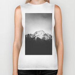 Black and white snowy mountain Biker Tank