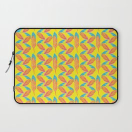 Tropical Yellow Feather Repeat Surface Pattern Design Laptop Sleeve