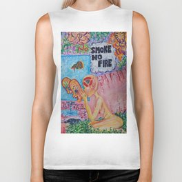 no smoke no fire surreal paint Biker Tank