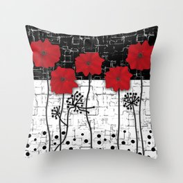 Applique Poppies on black and white background . Throw Pillow