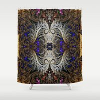 ornate elephant Shower Curtains featuring Ornate by RingWaveArt