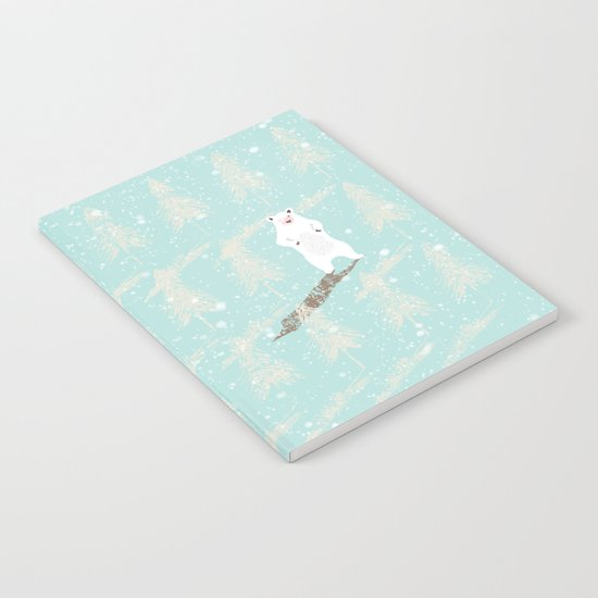 Polar bear in snowy white winter forest -Illustration Notebook