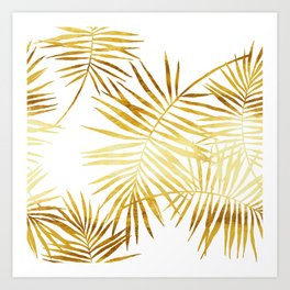 Tropical Palm Fronds in Gold Art Print