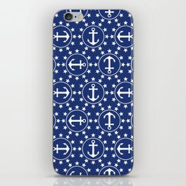 White Anchors & Stars Pattern on Navy Blue iPhone Skin