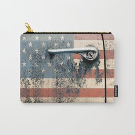 Door old car and falg USA America Carry-All Pouch