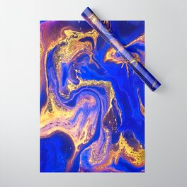 Marble gold and deep blue Wrapping Paper