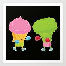 Broccoli vs Ice cream Art Print