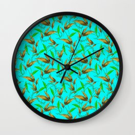 Classy stylish elegant timeless retro vintage cyan blue seamless floral leaf patter. Botanical theme Wall Clock