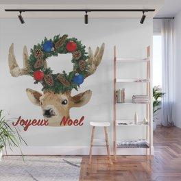 Joyeux noel - French Merry Christmas deer Wall Mural