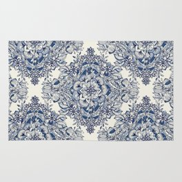Floral Diamond Doodle in Dark Blue and Cream Rug