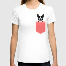 Kennedy - Boston Terrier cute dog themed gifts for small dog owners and Boston Terrier gifts  White Womens Fitted Tee X-LARGE
