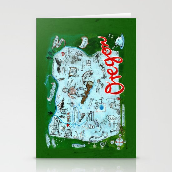 Map of Oregon Stationery Cards