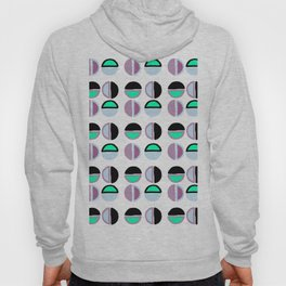 Geometric hand painted black lilac green abstract polka dots Hoody