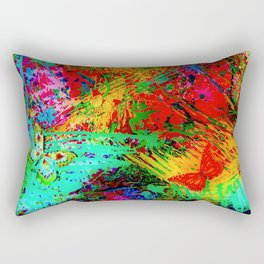 BUTTERFLY FEVER - Bold Rainbow Butterflies Fairy Garden Magical Bright Abstract Acrylic Painting Rectangular Pillow