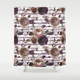 Lavender lilac brown watercolor botanical roses stripes Shower Curtain