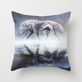 Black and White Wolf Reflection Throw Pillow