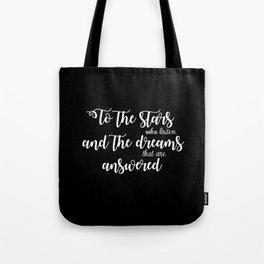 to the stars black Tote Bag