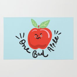 One Bad Apple - cute kawaii funny character illustration Rug