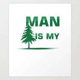 Man In The Tree Climbing Recreational Activity Harness Trees Helmet Caving Gift Art Print