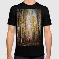 Autumn forest MEDIUM Black Mens Fitted Tee
